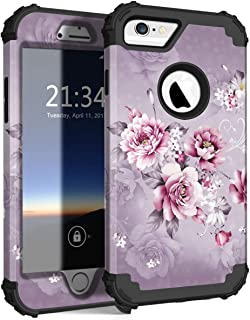 Hocase iPhone 6s Case, iPhone 6 Case, Shockproof Heavy Duty Hard Plastic+Silicone Rubber Bumper Full Body Protective Case with 4.7-inch Display for iPhone 6s, iPhone 6 - Light Purple Flowers
