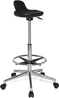 hjh OFFICE 665160 taburete de trabajo TOP WORK 03 espuma rígida negro, asiento antideslizante, cómodo, apoyapiés, muy alto, fácil de limpiar, silla de trabajo, taburete cocina