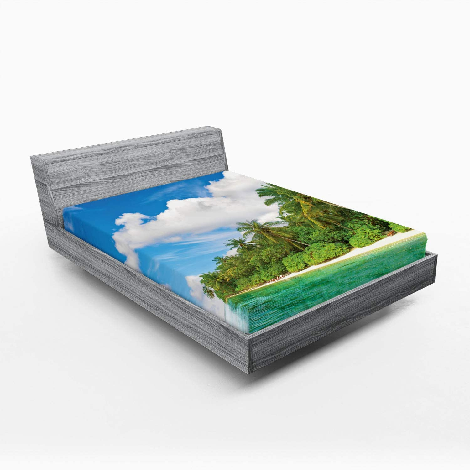 Lunarable Gifts Ocean Fitted Sheet Surreal Pa Sales for sale Island View Tropical in