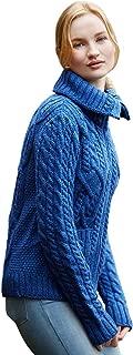 100% Irish Merino Wool Ladies Zip Aran Sweater with Pockets by West End Knitwear