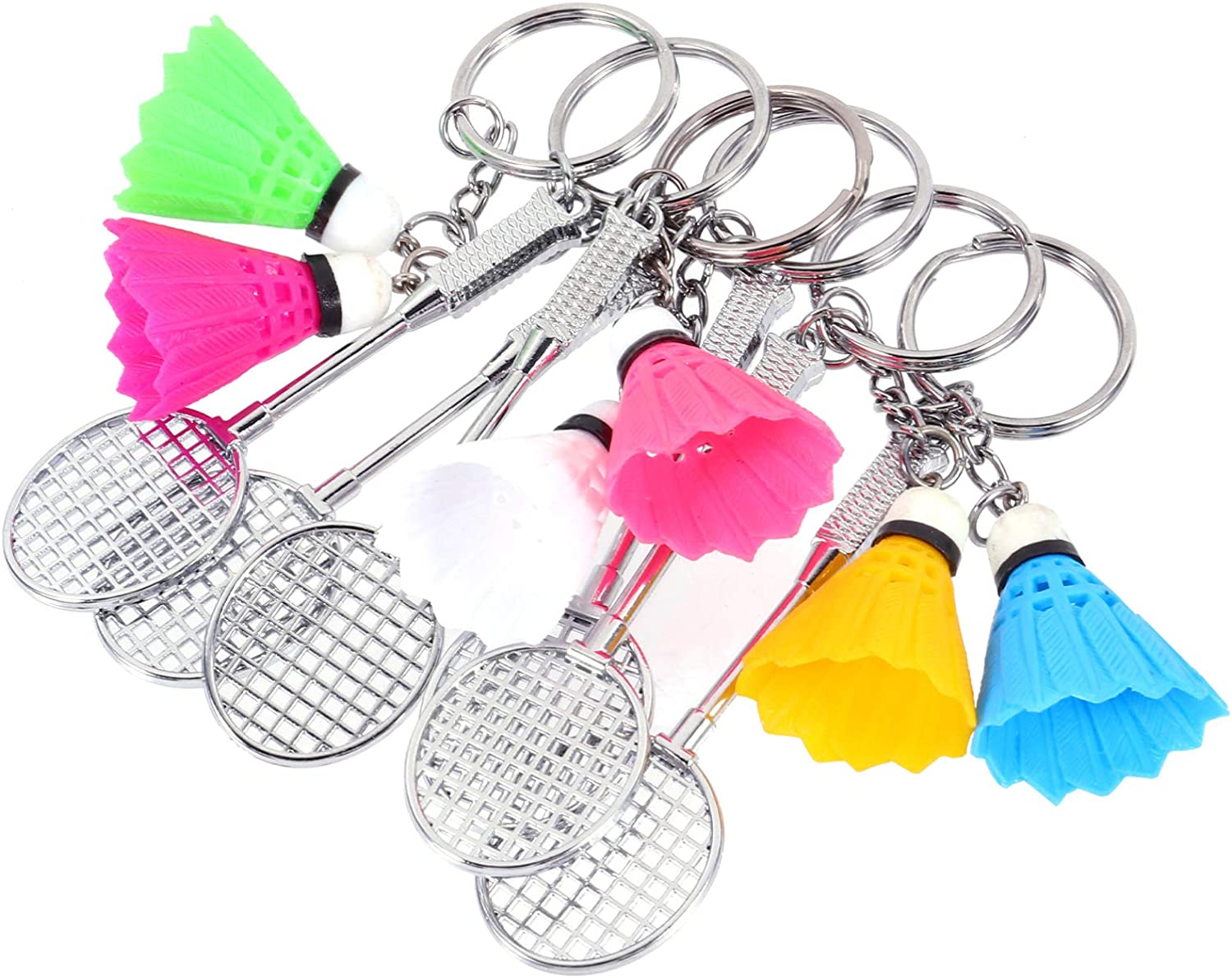 PRETYZOOM 6pcs Tennis Racket Keychain Mini Badminton Pendant Keychain Personality Keyring Bag Backpack Pendant for Sports Lover Birthday Party Favor