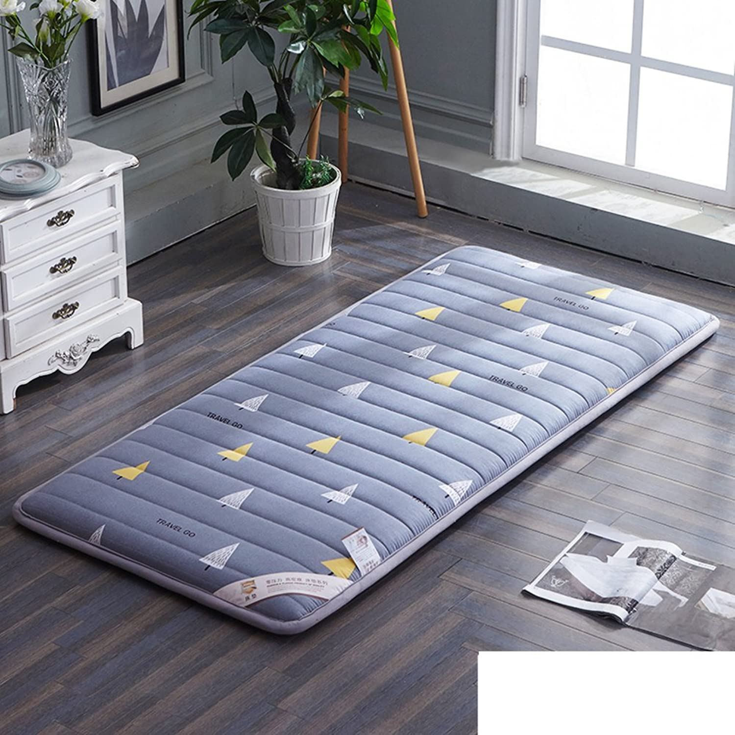 Plush Portable Folding Floor mat Thicken Tatami Mattress,Student [Dorm Room] Mattress Single Bed Floor [nap] [pad] [Cotton] Cushion Tatami mats Carpet-D 90x190cm(35x75inch)