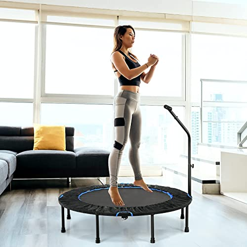 popular Giantex outlet sale 47'' Foldable Mini Trampoline wholesale w/ Adjustable 4 Levels Handrail, Indoor Workout Trampoline w/ Safety Pad, Anti-Slip Pad, Small Exerciser Trampoline, Fitness Rebounder Trampoline for Adults, Kids online sale