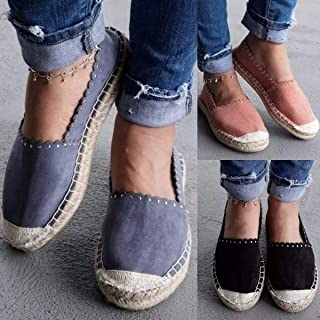 Women Summer Autumn Flat Canvas Shoes Casual Patchwork Breathable Brief Basic Slip on Shoes(Blue,5)
