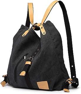Kono Damen Canvas Handtasche Rucksack Frauen Schultertasche Shopper Tasche Vintage Hobo Umhängentasche für Arbeit Schule R...