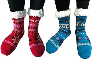Women Winter Thermal Sherpa Lined Knit Slipper Socks Non Slip Indoor Home Socks