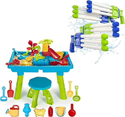 new arrival Temi Kids Sand and Water Table, Toddler Activity Table Beach new arrival Toy Set Outdoor Play Table high quality 27 Pcs + 4 Pack Squirt Water Guns Soaker Blaster with Three Nozzles for Summer Water Fight outlet sale