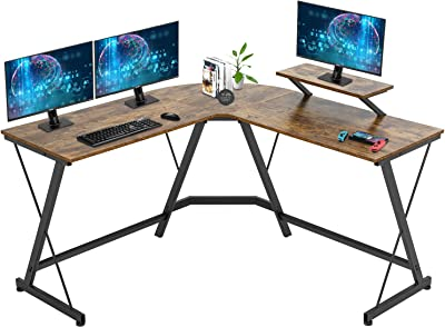 Computer Desk, 51 Inchs L Shaped Desk with Large Monitor Stand Home Office Gaming Corner Desk Writing Study Workstation,Space-Saving