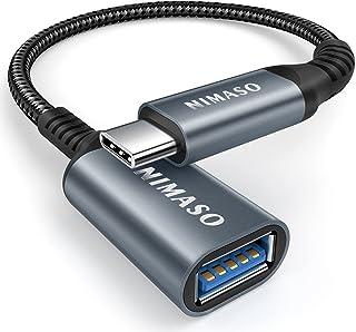 NIMASO USB C 変換 アダプタ (Type C - USB 3.0 メス) 20CM OTG ケーブル タイプC 変換コネクター (1本入り, グレー)