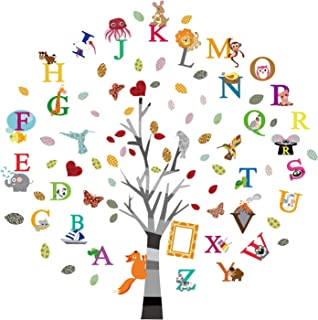 ufengke Alphabet ABC Tree Wall Stickers Animals Letters Wall Decals Wall Decor for Kids Bedroom Nursery Living Room