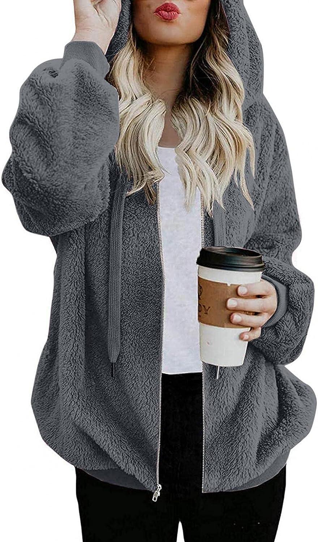 UOCUFY Hoodies for Women,Women Oversized Pullover Drawstring Furry Hooded Fleece Sweatshirts Zipper Winter Outwear Coat