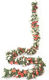 Miracliy 5 Pack 41 FT Fake Rose Vine Flowers Plants Artificial Flower Hanging Rose Ivy Home Hotel Office Wedding Party Garden Craft Art Décor Champagne