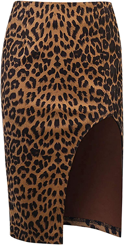 XUNZOO Womens Leopard Printed Bodycon Split Mini Skirt High Waisted Midi Skirt Casual Party Wear