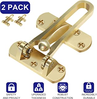 Pakesi Home Security Door Lock, 2 Pack Front Door Locks for Kids, Home Reinforcement Lock for Swing-in Doors, Thicken Solid Aluminium Alloy, Satin Nickel