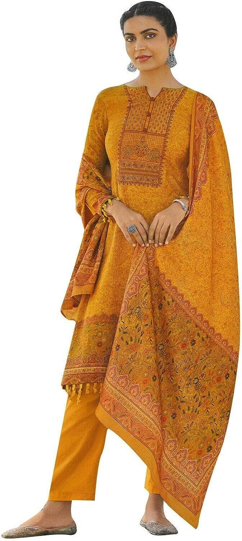 ladyline Designer Partywear Cotton Kashmiri Embroidered Salwar Kameez Suit with Mal Cotton Dupatta