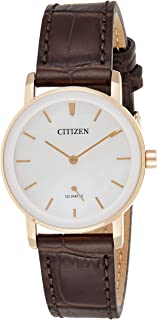 CITIZEN Womens Quartz Watch, Analog Display and Leather Strap - EQ9063-04D