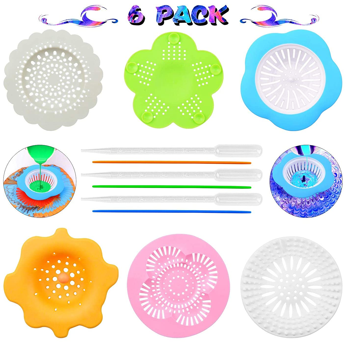 Acrylic Pouring Strainers, 6 Pack Plastic Silicone Paint Pouring Strainers for Pouring Acrylic Paint and Creating Unique Patterns and Designs, Art Supplies