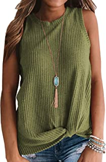MIHOLL Womens Casual Tops Sleeveless Cute Twist Knot Waffle Knit Shirts Tank Tops