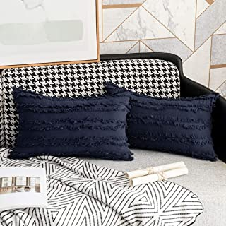 Navy Blue White Decorative Pillow Covers Throw Pillow Cover Set Square Cushion Cover Cotton Linen Pillow Case Home Sofa Car Couch Bedroom Decor,12 x 20 Inches, Pack of 2