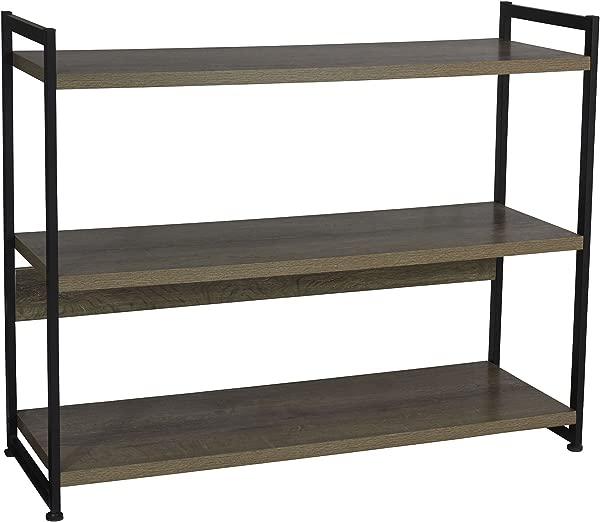 Household Essentials Ashwood 3 Tier Storage Shelf With Metal Grey Shelves Black Frame