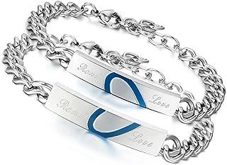 Flongo Coppia Amante Braccialetti Acciaio Lui&Lei Completo un Cuore Blu Romantico Puzzle San Valentino Regalo