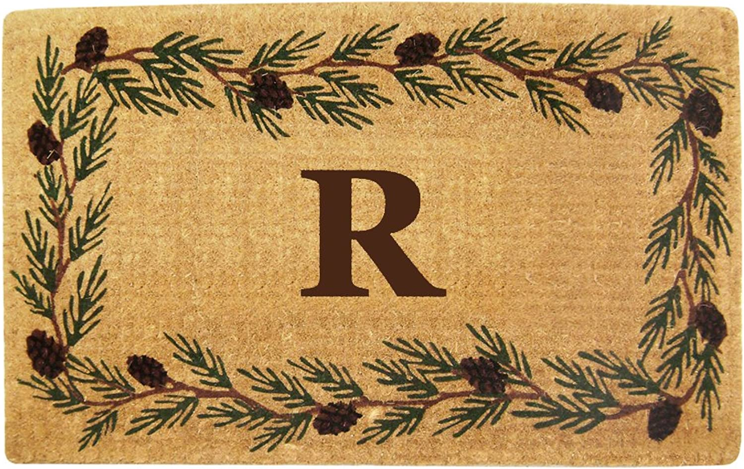 Nedia Home Heavy Duty Coco Mat with Evergreen Border, 22 by 36-Inch, Monogrammed R