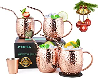 Moscow Mule Copper Mugs, esonmus Set of 4 Handcrafted Copper Mugs for Moscow Mule Cocktail, Food Safe Mule Mugs 16 oz Gift Set with Bonus 1 Jigger 4 Straws 4 Coasters