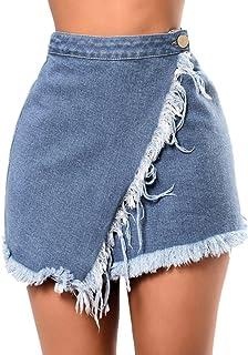 ShiTou Skirts, Summer Womens High Waist Short Sexy Pocket Blue Denim Skirt