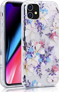 iPhone 11 Case, BAISRKE iPhone 11 Case Clear with Floral Pattern [Fusion] Hard PC Back Soft TPU Bumper Raised Edge Drop Protection Cover for iPhone 11 2019 6.1
