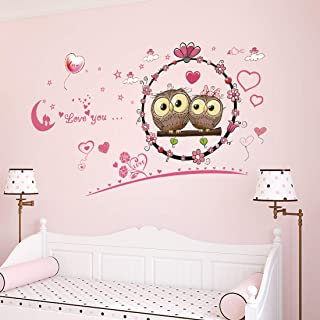 Amazon Brand - Solimo Wall Sticker for Bedroom (Owl love Décor ), Ideal Size on Wall: 113 x 66 cm