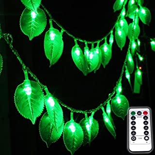 Dreamworth Green Leaf String Lights,8Ft /2.5M 20LEDs Battery Operated Green Leaf Fairy Lights with Remote Controller,Perfect for Christmas Bedroom and Decoration courtyard park lighting