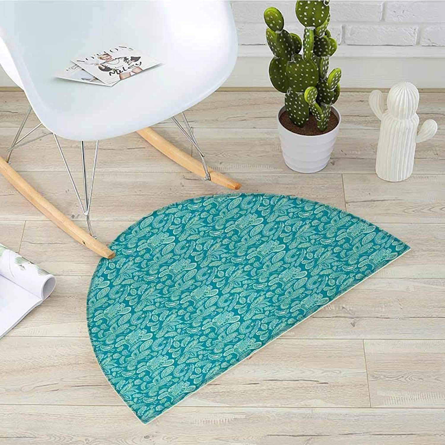 Ethnic Half Round Door mats Leaves Vintage Pastel Paisley Old Fashioned Historical Motifs in bluee Shades Bathroom Mat H 39.3  xD 59  Turquoise Teal