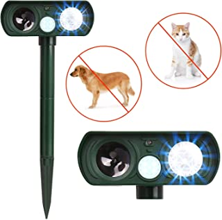 Humutan Ultrasonic Dog Repellent, Solar Powered and Waterproof PIR Sensor Repeller for Cats, Dogs, Birds and Skunks and More