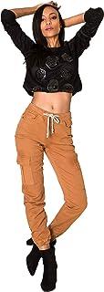 Crazy Age damskie spodnie cargo, z gumowym ściągaczem, czarne spodnie typu cargo, świetne spodnie
