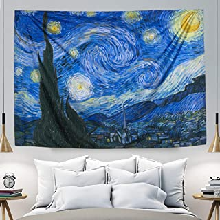 IcosaMro Starry Night Tapestry Wall Hanging, Van Gogh Art Wall Tapestries [60x82.7][Double-Folded Hems]-Twin Star Blanket Tablecloth for Bedroom, Dorm, College, Living Room (Blue Star)