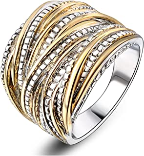 2 Tone Intertwined Crossover Statement Ring Fashion Chunky Band Rings for Women Men Gold Silver Rose Gold Plated Wide Index Finger Rings Costume Jewelry