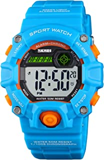 Boys Camouflage LED Sports Watch,Waterproof Digital Electronic Casual Military Wrist Kids Watch with Silicone Band Luminous Alarm Stopwatch Watches Age 5-10