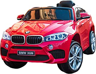 Licensed BMW X6 Ride On JJ2199 Electric Toy Car for Kids 12V Battery Powered LED Lights MP3 RC Parental Remote Controller Leather Seat Suitable for Boys Girls Red