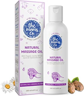 The Moms Co. Natural Baby Massage Oil with 10 Oils - Sesame Oil, Avocado, Organic Almond, Organic Jojoba, Organic Chamomil...