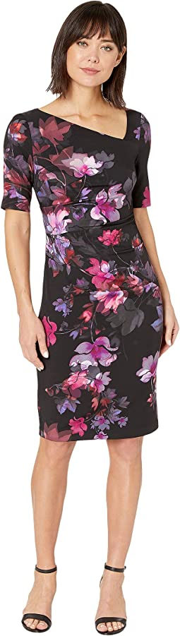 Elbow Sleeve Watercolor Lillies Sheath Dress
