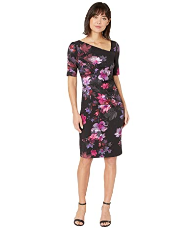 Adrianna Papell Elbow Sleeve Watercolor Lillies Sheath Dress (Black Multi) Women