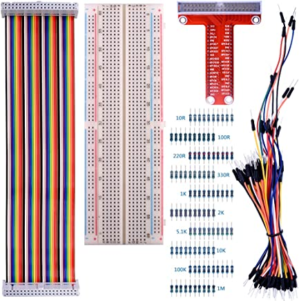 kuman for Raspberry Pi 3 Kit, 830 MB-102 Tie Points Solderless Breadboard + GPIO T Type Expansion Board + 65pcs Jumper Cables Wires+ 40pin Rainbow Ribbon Cable+100pcs Resistance K73