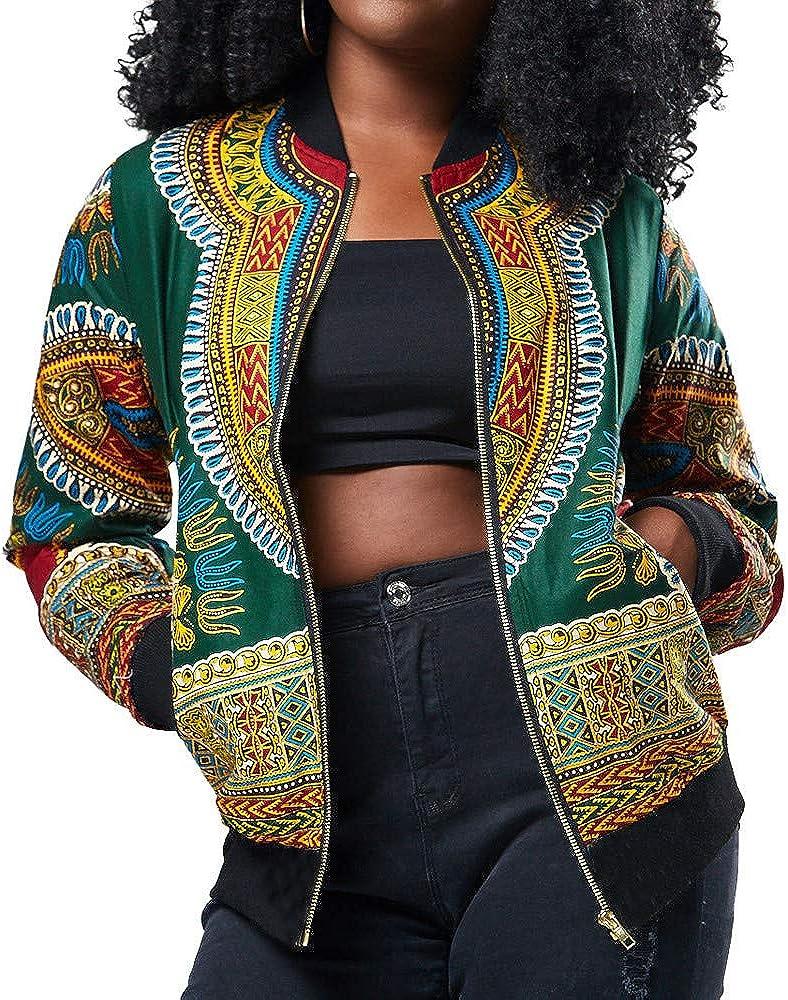 WUAI-Women Dashiki Bomber Jacket Casual Zipper Lightweight African Print Dashiki Short Casual Jacket Coats