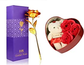 Webelkart 24K Gold Rose 10 INCHES with Gift Box and Love Teddy Bear Heart Shaped Box - Best Gift for Loved Ones, Valentine's Day, Anniversary, Birthday, Rose Day, Friendship Day