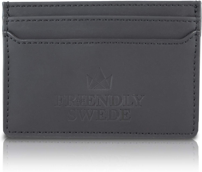 The Friendly Swede Minimalist Card Case – Front Pocket Credit Card Holder for Men and Women Vegan Friendly – Vreta Wallet