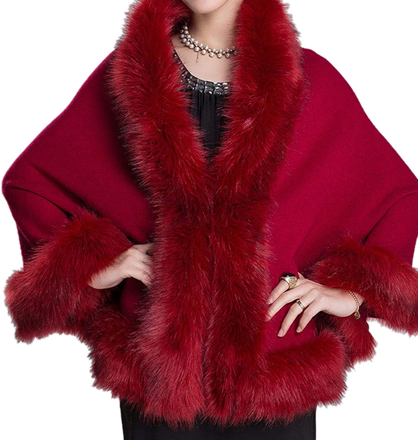 Cloud To Rain Coat Leather Grass Fox Fur Collar Wool Fur Coat,Wine Red,One Size