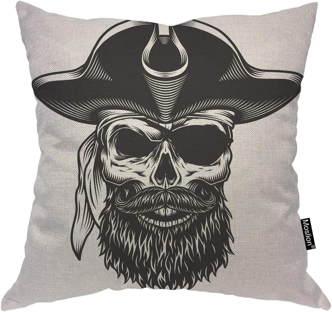 Moslion Skull Superior Decorative Pillow Covers OFFer 16x16 Inch Vin Monochrome