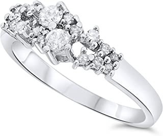 18k White Gold Diamond Cluster Band
