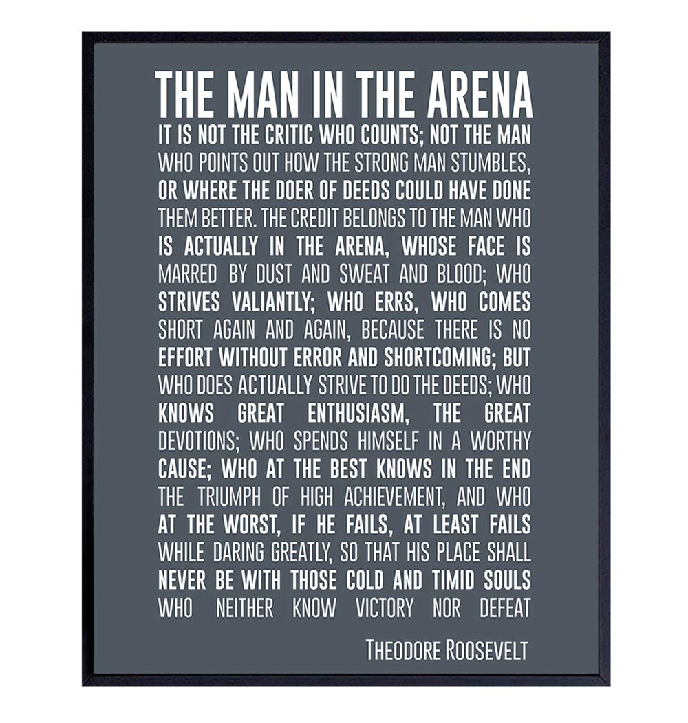 Free shipping anywhere in the nation Teddy Roosevelt Man in the New Orleans Mall Arena Quote Print Wall Unf Art 8x10 -