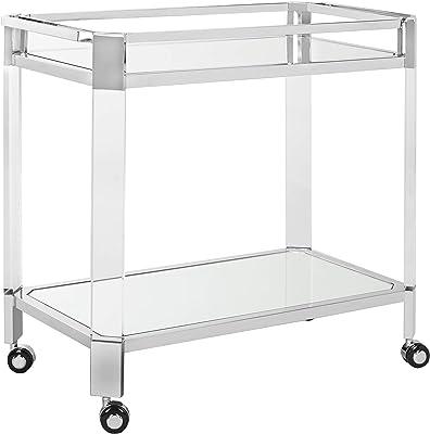 Safavieh Couture Home Iago Glam Silver Acrylic Glass Top Bar Trolley